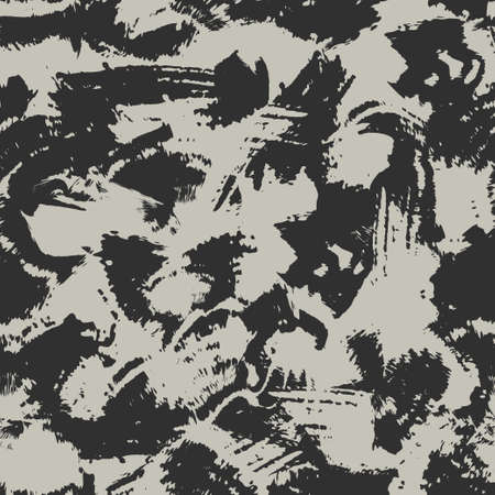 Blots camo seamless background. Chaotic monochrome pattern of paint splashes spots. Vector hand drawn camouflage texture for printing on fabric. Grunge black and white ink wallpaper 矢量图像