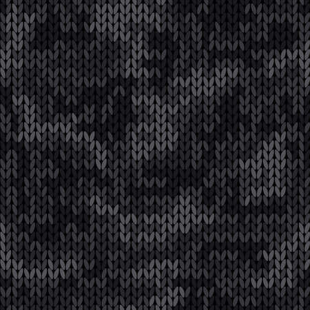 Knitted camouflage seamless pattern. Woolen black knitted texture. Vector camo background 矢量图像