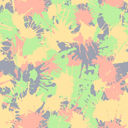 Hand drawn camouflage texture in delicate colors for printing on fabrics for children's and sportswear. Blots camo seamless pattern of paint splashes spots. Vector background.