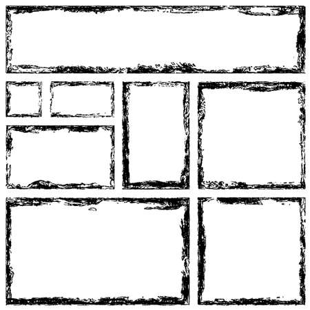 Collection of rectangular ink grunge frames, borders set. Squared hand drawn box for text with torn, damaged edges. Vector