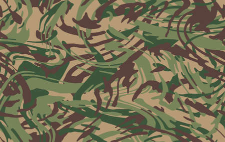 Camo texture for army clothing. Zebra stylish safari camo background. Soldier green brown and beige camouflaging seamless pattern. Military textile for print. Vector wallpaper