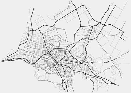 Sapporo city map (Japan) - town streets on the plan. Monochrome line map of the scheme of road. Urban environment, architectural background. Vector