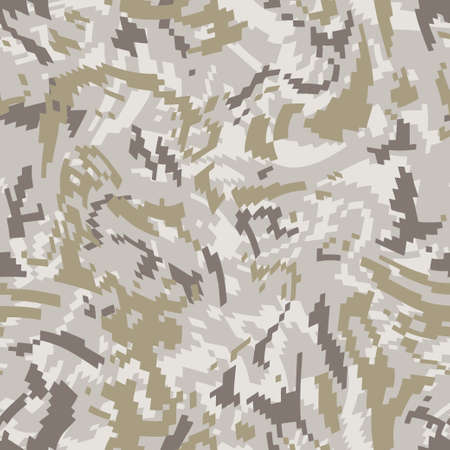 Wave camouflage. Seamless digital camo pattern. Military texture. Brown desert color. Vector fabric textile print designs