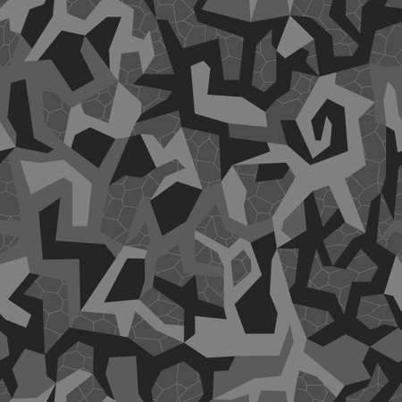 Camouflage seamless urban pattern. Military geometric wallpaper, camo texture. Print on fabric on textiles. Vector black and gray monochrome background