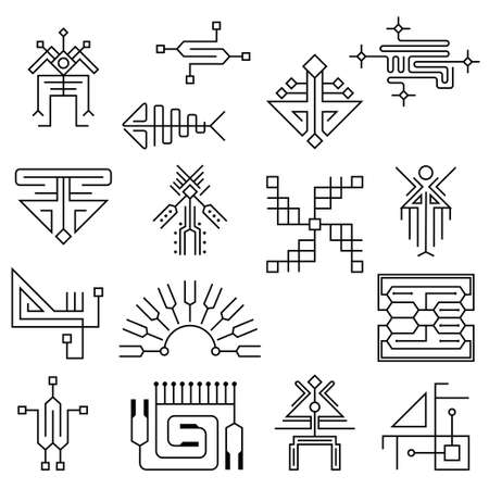 Electronic design. High tech background. Microcircuit element stylized in a futuristic style. Thin line icons set. Vector 矢量图像