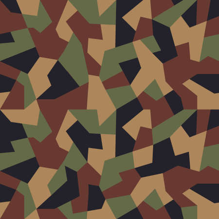 Geometric camouflage pattern background, seamless vector illustration. Urban clothing style, masking camo repeat print. Green brown black colors forest texture.