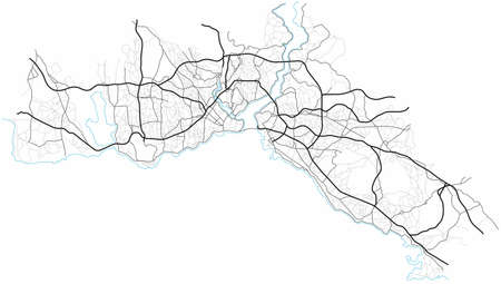 Istanbul city map (Turkey) - town streets on the plan. Monochrome line map of the scheme of road. Urban environment, architectural background. Vector 矢量图像