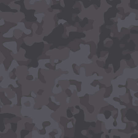 Black camouflage pattern. Monochrome black and gray camo texture. Military style printing for fabric. Vector seamless wallpaper