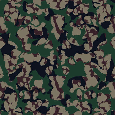 Camouflage green forest pattern, seamless background. Military camo print texture. Vector wallpaper 矢量图像