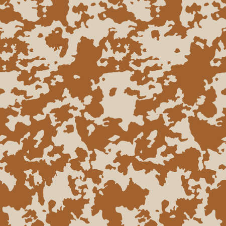 Cow skin in brown and beige spotted, seamless pattern for print, animal texture. Vector wallpaper 矢量图像
