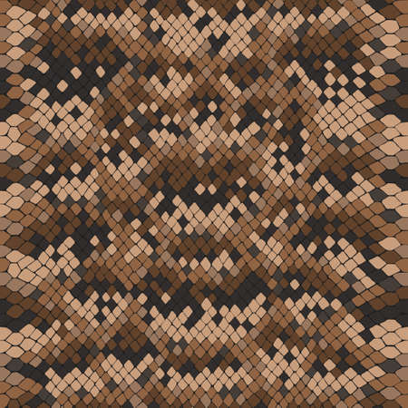Vector snake skin, reptile camouflage pattern for fabric design. Animal print, seamless python texture. Abstract brown leather background 矢量图像