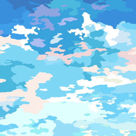 Clouds scenic backdrop blue-pink gentle morning sunrise. Cartoon sky and clouds, abstract vector sunset background