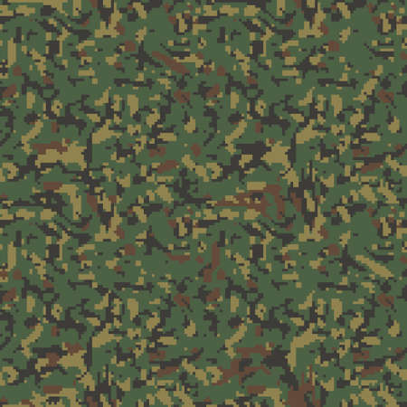 Digital camouflage pattern. Seamless green khaki background camo print Classic military clothing style. Vector wallpaper