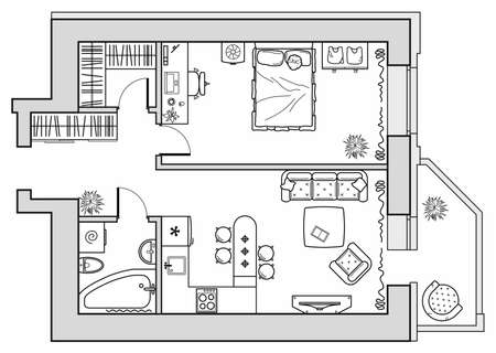 Planning of an apartment with furniture arrangement. Architectural drawing of a house (top view). Interior design floor plan from above. Vector layout Ilustração Vetorial