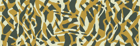 Safari stylish camouflage. Zebra skin, yellow and green color. African organic pattern. Ethno background is handmade. Camo seamless texture. Animal print, striped and spotted shapes. Vector