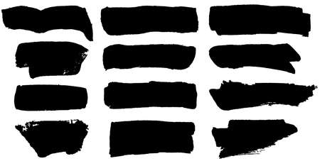 Vector hand made black paint brush spots, roll up lines, horizontal blobs. Brushstrokes and dashes. Ink smudge abstract shape stains and smear