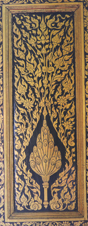 appears: The art of Guilt Lacquer or Lai Rod Nam, is a well-known from of decorative art. It appears on book cabinets that are used to hold Buddhist scriptures. The stories the decoration depicts usually concern religious topics such as the lives of Buddha, includ