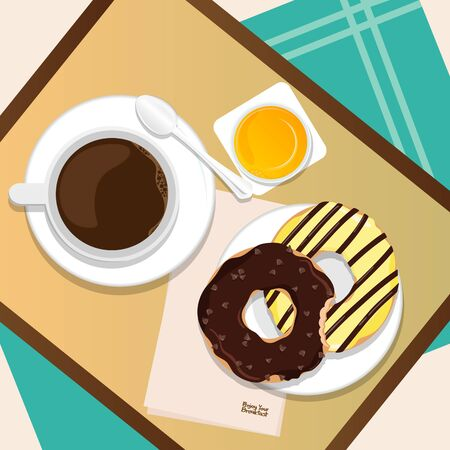 Vector breakfast of coffee, donut,orange juice top view Isolated on background