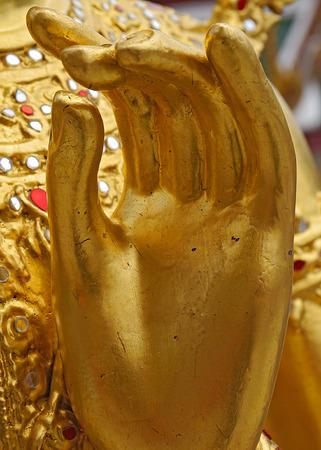 buddism: Golden Hand of Buddism Statue.