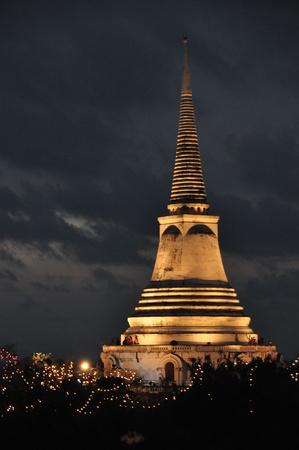 Temple on mountain top at Khao Wang Palace during festival, Petchaburi, Thailand photo