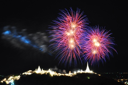 Firework over Khao Wang Palace in Petchaburi, Thailand photo