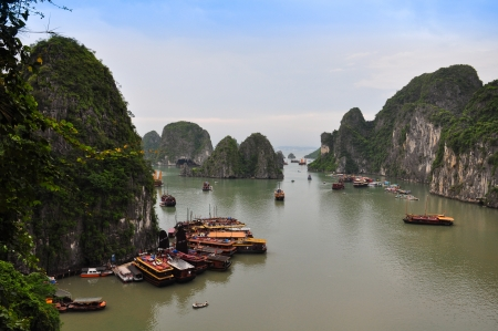 View of Floating Fishing Village in Halong Bay, Vietnam, photo