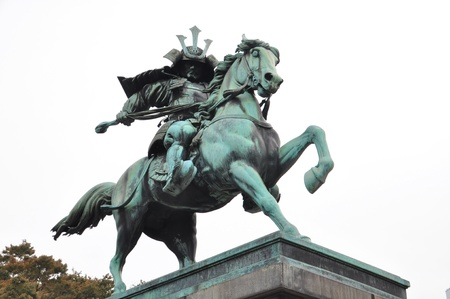 garden center: Statue of the great samurai Kusunoki Masashige at the East Garden outside Tokyo Imperial Palace, Japan