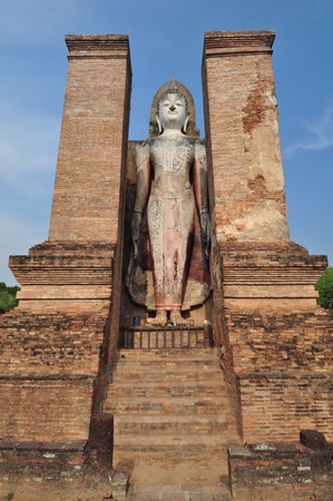 Sukhothai ruin old city country in Thailand photo