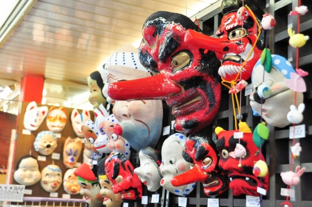 Japanese masks souvenir in Tokyo, Japan photo