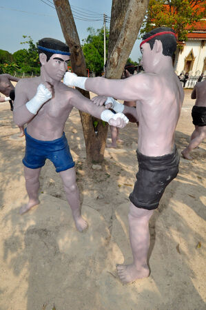 Thai boxer statue in Amphawa,Samut Songkhram,Thailand photo
