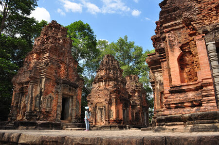 archaeological complex: Beautiful view of ruined Preah Ko Wat in Roulos, Siem Reap, Cambodia. Roulos temple is the most ancient building in Angkor archaeological complex.