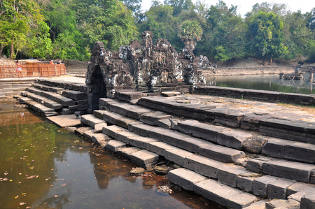 Neak Pean Temple at the Angkor Wat historical site area in Cambodia photo