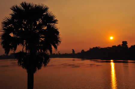Sras Srang at sunrise in Cambodia, Asia photo