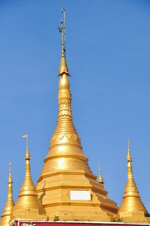 daw: Beautiful detail of Shwe Maw Daw Pagoda in Yangon,Myanmar