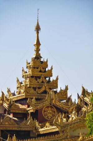 daw: Beautiful detail of Shwe Maw Daw Pagoda in Yangon,Myanmar