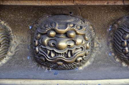heritage protection: Dragon decorated at the incense burner  of Chinese shrine in Chon Buri,Thailand