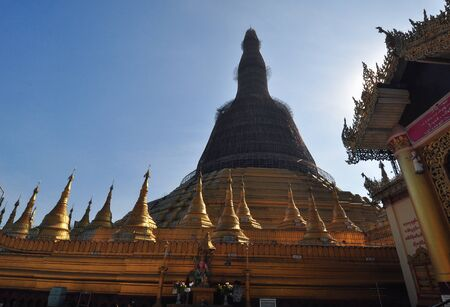 daw: Beautiful Shwe Maw Daw Pagoda in Yangon,Myanmar
