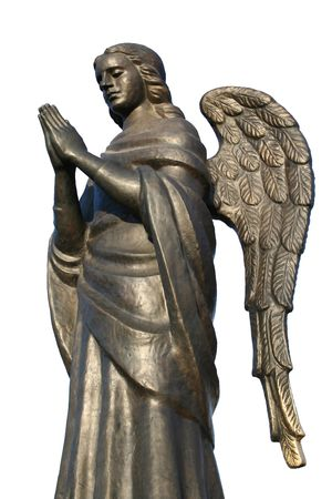 Bronze sculpture of a praying angel on a white background a side view, Isolated (look similar images in my portfolio) photo
