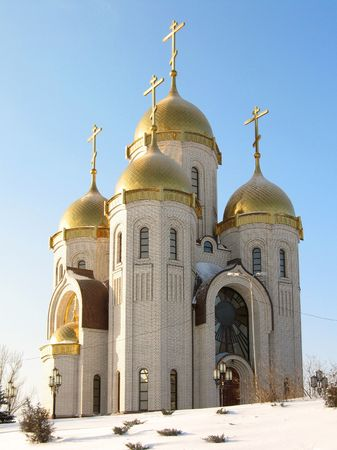 Kind on an orthodox temple of all sacred in Volgograd during winter time, (look similar images in my portfolio) Stock Photo