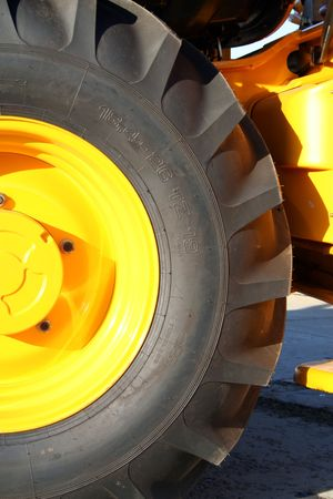 New tractor wheel with bracing close, (look similar images in my portfolio) Stock Photo