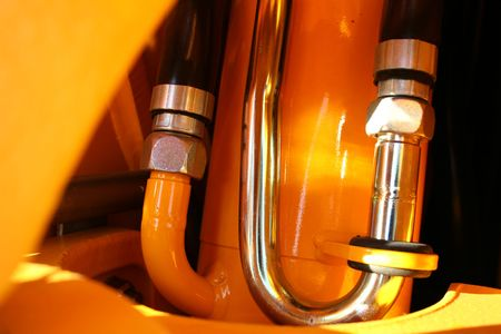 Detail of hydraulic system of a tractor close up, (look similar images in my portfolio)