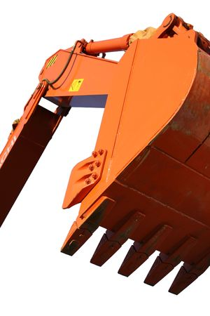 Scoop of the building excavating machine of orange color close up, Isolated (look similar images in my portfolio)
