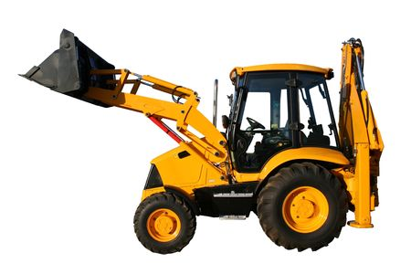 hoe: The new universal bulldozer of yellow color on a white background, Isolated (look similar images in my portfolio)