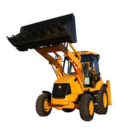 The new bulldozer of yellow color with the lifted bucket on a white background, Isolated (look similar images in my portfolio) Stock Photo