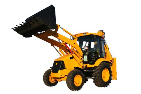 The new universal bulldozer with the lifted bucket on a white background, Isolated (look similar images in my portfolio)