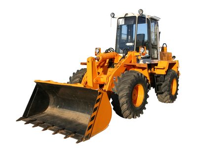 The heavy building bulldozer of yellow color on a white background, Isolated (look similar images in my portfolio) Stock Photo
