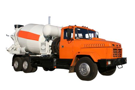 The new building lorry of red color with a concrete mixer on a white background, Isolated (look similar images in my portfolio) Stock Photo