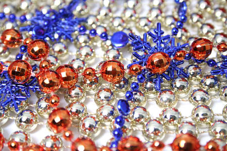 Christmas background made of celebratory ornaments of red, dark blue and golden color  photo