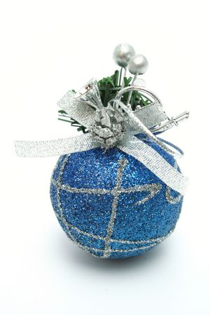 Christmas sphere of dark blue color with a pattern vertically  photo
