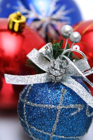 Set of New Year's christmas-tree decorations with a pattern of dark blue and red color Stock Photo - 673457